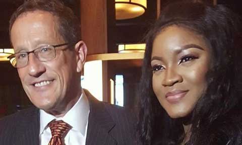 Omotola Jalade-Ekeinde and Richard Quest